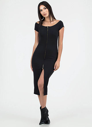 Two-Way Street Slit Zip-Front Dress