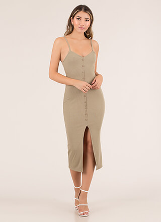 Hot Button Slit Rib Knit Midi Dress