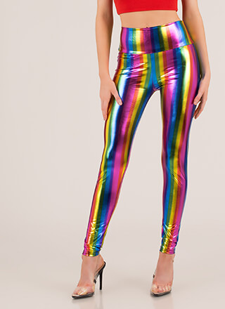 Wear The Rainbow Shiny Striped Leggings