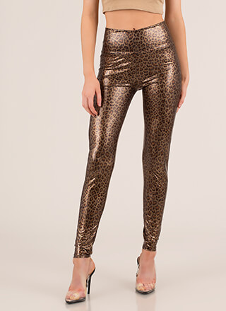 Cat Person Shiny Leopard Leggings