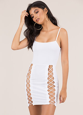 X's Beware Cut-Out Caged Minidress