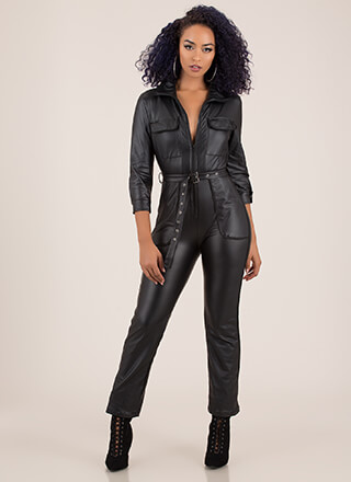 More Moto Belted Faux Leather Jumpsuit