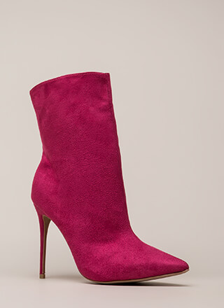 City Chic Pointy Faux Suede Booties