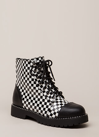 To Cap It Off Checkered Combat Boots
