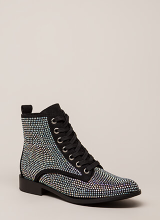 What A Jewel Short Lace-Up Boots
