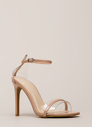 The Illusionist Clear Faux Patent Heels