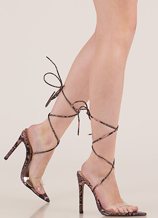 Snake Charmer Clear Lace-Up Heels