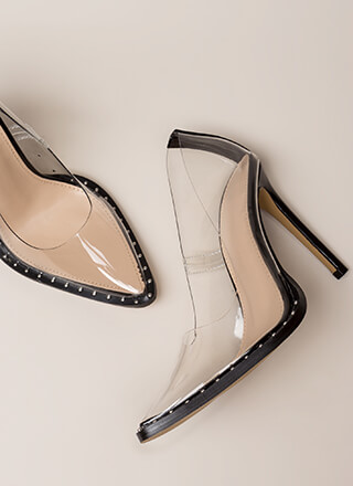 Clear The Way Pointy Studded Pumps