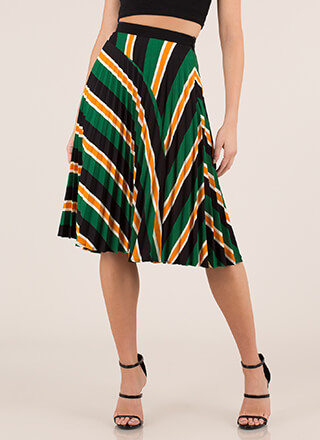 Pleats And Thank You Striped Skirt