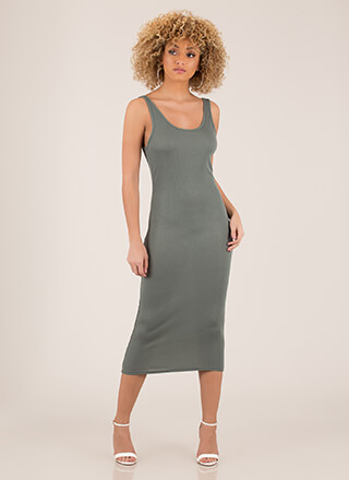 Simple Pleasures Ribbed Midi Dress