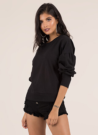 Something Cute Puff Sleeve Sweatshirt