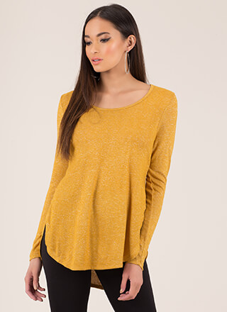 Even Split Fuzzy Knit Round Hem Top