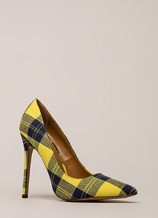 Plaid Influence Pointy Stiletto Pumps