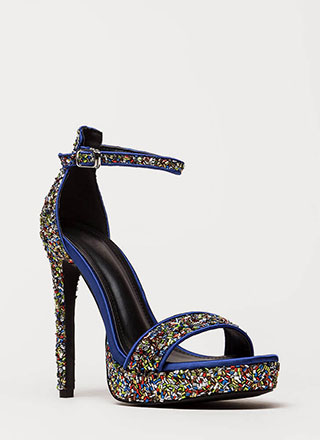 Sparks Sequined Ankle Strap Platforms