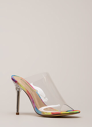 Clearly Must-Have Peep-Toe Mule Heels
