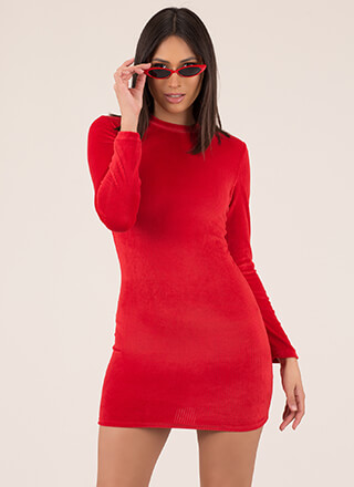 Strike The Right Cord Velvet Minidress