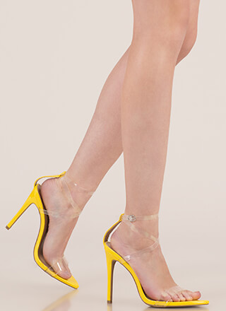 Clear My Head Strappy Faux Patent Heels