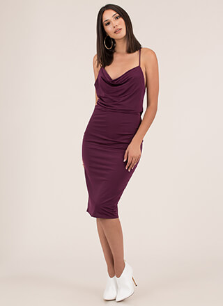 The Drape Escape Cowl Midi Dress