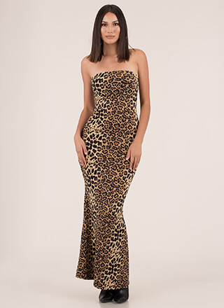 Wild And Crazy Strapless Leopard Maxi
