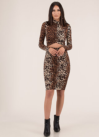 Lady Leopard Ruched Two-Piece Dress