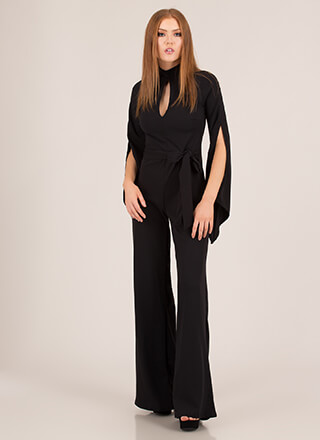 One And Only Tied Slit Sleeve Jumpsuit