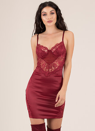 Call It A Nightie Lacy Satin Minidress