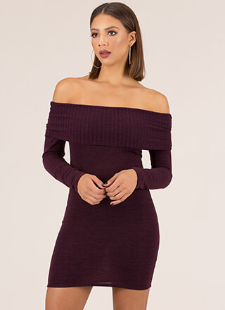 Sexy Thing Off-Shoulder Knit Minidress