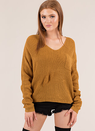 Warm And Cool Lace-Back Knit Sweater