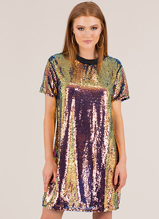 The Party Is On Sequined Shirt Dress