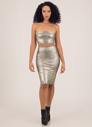 Hi Shine Foiled Top And Skirt Set