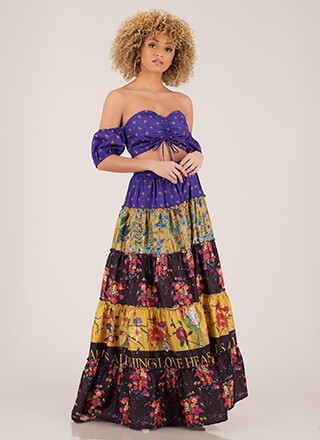 Gypsy Off-Shoulder 2-Piece Floral Maxi
