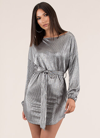Shiny Thing Belted Metallic Shift Dress