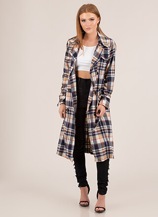 More Plaid Please Belted Trench Coat
