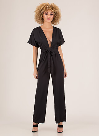 Take The Plunge Tied Wide-Leg Jumpsuit