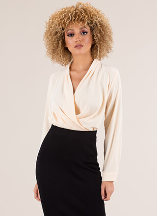 Low-Key Draped Surplice Blouse