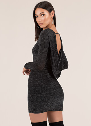 Head-Turner Sparkly Drape Back Minidress