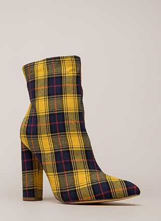 Easy Win Chunky Plaid Print Booties