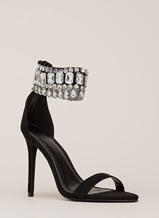 Crystal Ball Jeweled Ankle Cuff Heels
