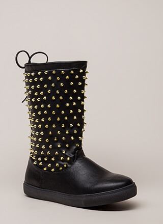 Spike Force Studded Tie-Back Boots