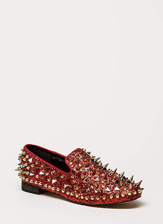 Introvert Spiky Studded Smoking Flats