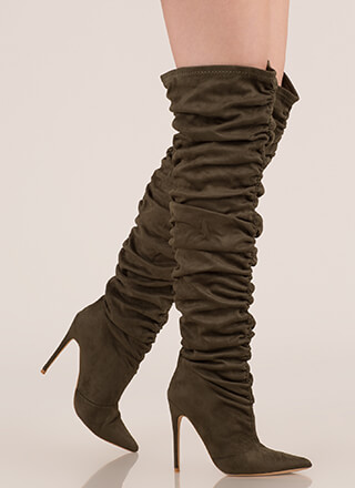 Shirr Thing Ruched Thigh-High Boots
