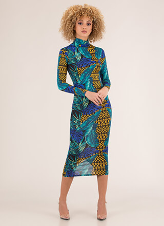 Tropical Adventure Leaf Print Midi Dress