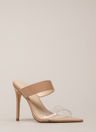 Clear Instructions Faux Patent Heels