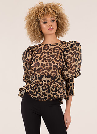 Going Wild Puffy Sleeve Leopard Top