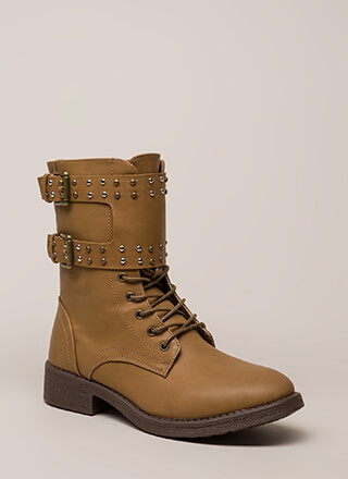 Badge Of Honor Studded Combat Boots