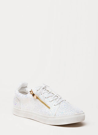 Let It Zip Glittery Platform Sneakers