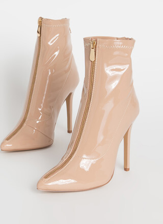 Zip Thru It Pointy Faux Patent Booties