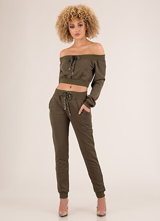 No Sweat Lace-Up Top And Jogger Set