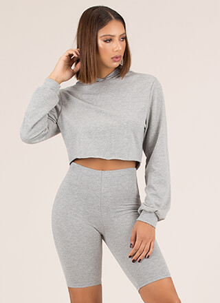 Act Casual Cropped Hoodie And Shorts Set