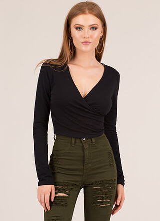 Basic Rights Cropped Surplice Top
